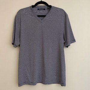 Axist  V-Neck T-Shirt Grey White Stripe